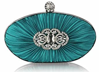 Green Sie Emerald Satin Rouched Kristall Oval Clutch Abendtasche KCMODE