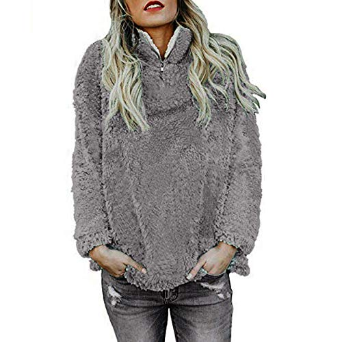 Rosennie Frauen Warme Pullover Damen Herbst Winter Hoodie Pullover Teddy Fleece Mantel Langarmshirt Beiläufige Reißverschluss Sweatshirt Outwear Loose Jumper Oberteile(Grau A,L)
