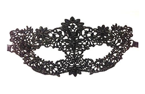 Moderne Kostüme Maskenball (Smile YKK One Size reizvolle Maske Modern Venezianische Maske Maskerade Maske Damen Spitze Gesicht Augenmaske für Halloween Masquerade Schwarz #)