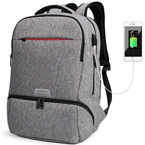 Laptop Rucksack 17 Zoll Damen Wasserdichter Rucksack Paket Herren Business Travel Backpack Rucksacktasche Grau