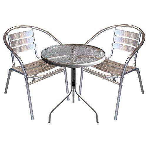 3tlg Terrassenmöbel Balkonmöbel Bistro Set Bistrotisch Ø60x70cm mit transparenter geriffelter Tischglasplatte + 2x Aluminium Stapelstuhl – Silber Sitzgruppe Sitzgarnitur