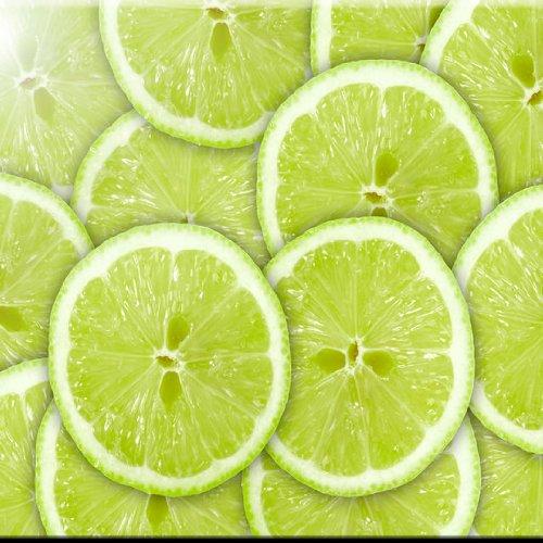 Rikki Knight grün Hintergrund mit Citrus Fruit of Lime Slices Design Art Keramik Fliesen, 4von 4-Zoll Fruit Decorator