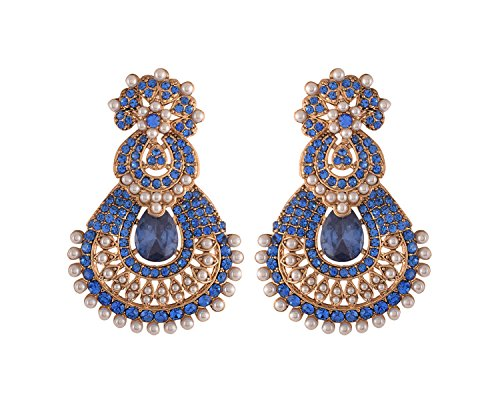 Ganapathy Gems Designer Stone Look Chanbali Blue Gold Plated Dangle & Drop Earrings for Women & Girls (10914_GPJ)