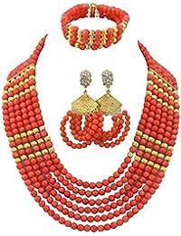 2951f6dc5ab7 AfricanBeads naranja Coral indio de seis filas novia joyería Set