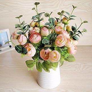 XCZHJ Flores Decorativas Artificiales Jarrón Cerámica Artificial Camelia Estilo Rural Rosa Los Productos de Flores Incluyen:Flores Artificiales,Flores Artificiales Blancas,Flores Artificiales.