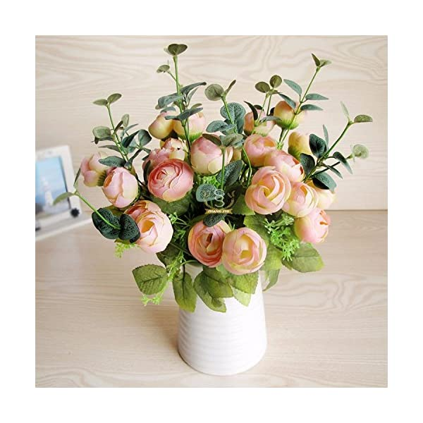 XCZHJ Flores Decorativas Artificiales Jarrón Cerámica Artificial Camelia Estilo Rural Rosa Los Productos de Flores…
