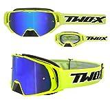 TWO-X Rocket Crossbrille neon gelb Glas verspiegelt blau MX Brille