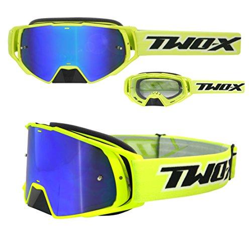 TWO-X Rocket Crossbrille neon gelb Glas verspiegelt blau MX Brille Nasenschutz Motocross Enduro Spiegelglas Motorradbrille Anti Scratch MX Schutzbrille Nose Guard