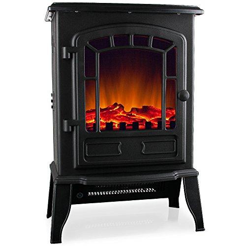 MONZANA - Cheminée électrique - Noir - 2000W - avec Chauffage et Effet feu de cheminée - Radiateur Chaleureux, Ambiance