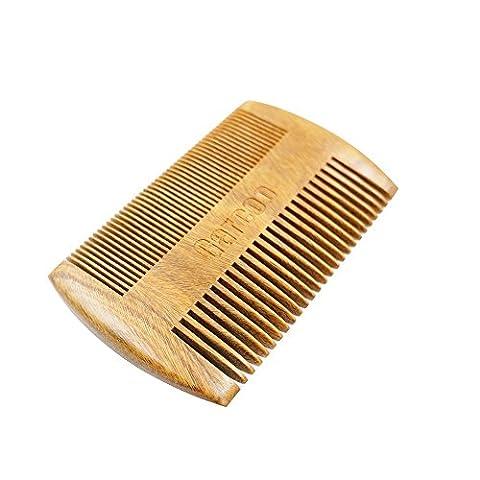 garcoo naturel fait main brosse à barbe peigne en bois, dents fines pour barbe et moustache, vert naturel Bois de santal pour les cheveux