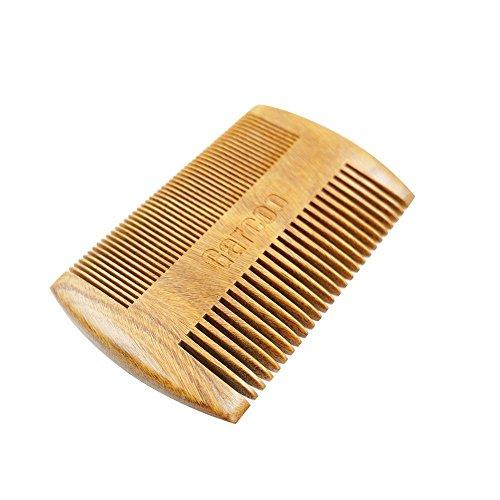 Garcoo Grün Sandelholz Taschenkamm Bartkamm | Anti-Static Natürliches Aroma | Handarbeit Premium Kamm für Bart&Moustache-Pflege | Feiner und grober Zähne, Taschenformat Haare-/ (Handschuhe Schnurrbart)