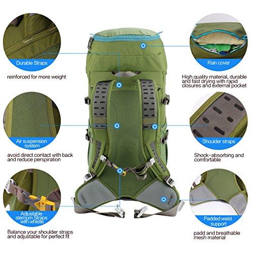 db43b21a48 ... Eshow Zaino Unisex 40 Litri Impermeabile Leggero Copertina Antipioggia  Trekking Outdoor Sport Alpinismo Escursionismo Campeggio Viaggio ...