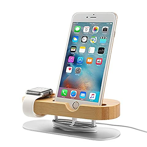 Apple Watch Ständer, 2 in 1 iWatch Halterung iPhone Dockingstation Smartphone Halterung Apple Watch Docking Station Ladestation iPhone Dockingstation Ständer Halterung Desktop Bambus Holz Dock Halter für iWatch & Smartphones Innerhalb von 4.7 - 5.5 Zoll (Z09)