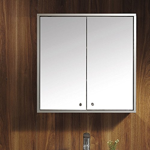 UEnjoy 600 x 600 Stainless Steel Double Door Bathroom Mirror Cabinet Mirrored Bathroom Cabinet