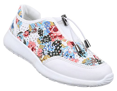 Damen Sneakers Schuhe Freizeitschuhe Slipper Sportschuhe Runner Turnschuhe Schwarz Blau Rosa Weiss Multi 36 37 38 39 40 41 Weiß Multi Dtzn0