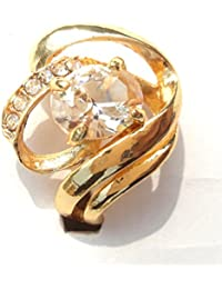 Nista Collections Finger Ring With White Stone For Women | Rose Gold Fancy Ring | Valentine Gifts (Size : 19)