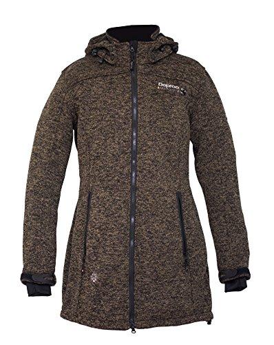 DEPROC-Active Damen Strickfleece Mantel Elkford Longjacket Lady, cappucino, 50, 54347-740