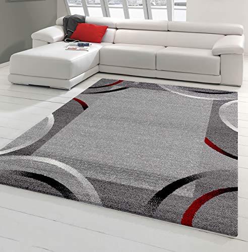 NAZAR Tapis de Salon Moderne avec Bordure - Collection Santana, de différente Taille et Couleur (Rouge, 60 x 110 cm)
