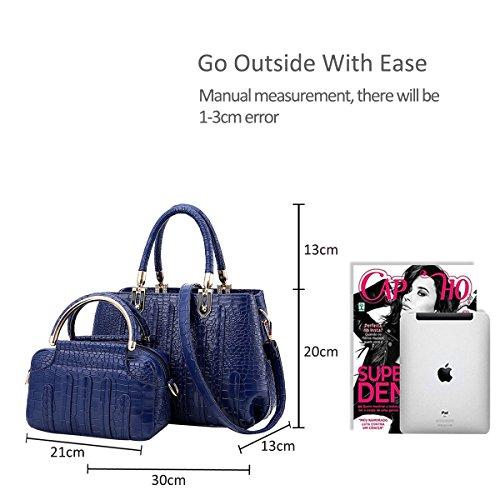 NICOLE&DORIS Neue Mode Damen Handtaschen Umhängetasche Tasche Crossbody 2PCS Tasche Riss PU Dunkel Grau Blau