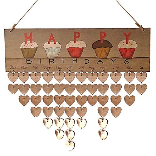 Healifty Alles Gute zum Geburtstag gedruckt Bunte Buchstaben hängen hölzerne Tafel Festival Geburtstag Erinnerung DIY Kalender Geschenk für Party Dekoration (1 Tafel, 1 Seil, 50 Herz Holzscheiben)