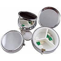 Audrly Pillendose Pillenbox Metall Medizin Fall Kleine Fall Silber Tablet Pille Boxen Container Metall Runde Silber preisvergleich bei billige-tabletten.eu