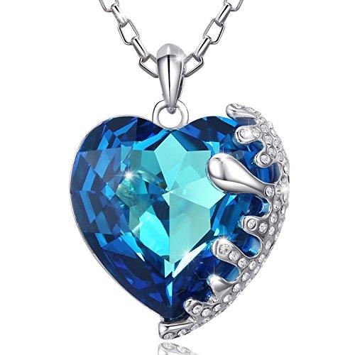 MARENJA Cristal-Regalo San Valentín-Collares Mujer Corazón Gargantilla Chapado en Oro Blanco Cristal Azul