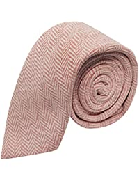King & Priory Corbata Con Tela Espigada Premium Color Rosa Chicle Y Crema
