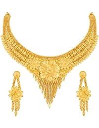 Asmitta Flower Design Gold Plated Choker Necklace Set For Women