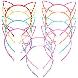 Diademas de Orejas de Gato Diademas de Plástico de Fiesta de Disfraces Diademas para Mujeres Chicas, Multicolor, 10 Piezas
