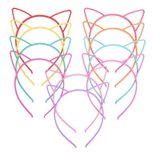 eBoot Katze Ohr Haarreif Kunststoff Katze Haarband Katze Bogen Haarbänder Make-up Party Kopfbedeckungen für Frauen Mädchen, Mehrfarbig, 10 Stück