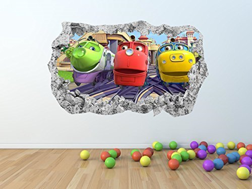 Image of CHUGGINGTON BROKEN / SMASHED WALL Effect Wall Art Sticker *GIANT SIZES* - pw125 (GIANT 100 x 60 cm)