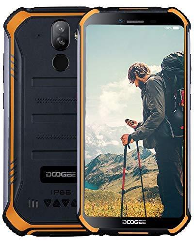 DOOGEE S40 (3Go+32Go) -Télephone Portable Incassable Débloqué 4G Android 9 Smartphone- 5,5 Pouce(Gorilla Glass 4) IP68/ IP69K Résistant Etanche Antichoc Mobile 4650mAh Dual SIM GPS Compas NFC-Orange