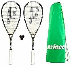2 x Prince Pro Sovereign 650 Raquetas Squash + 3 Pelotas De Squash Dunlop + Bolso De Transporte - 3 x Competition Balls - Patrón del cordaje - 16 x 18 - Peso - 135g - Balance - 36.0cm - Composición - 100% Grafito - Tamaño De Cabeza - 480cm2