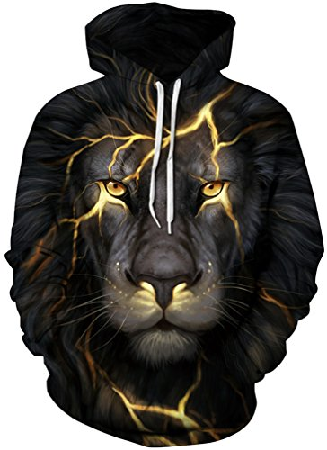 AMOMA Jungen digitaldruck Kapuzenpullover Tops Fashion Hoodie Pullover Hooded Sweatshirt (Small/Medium, Gold Lion) (Pullover Kinder)