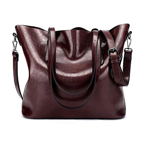 Myleas Donne borse borse di modo per le donne Borse semplici in pelle PU borse Messenger Tote Bags ROSSO SCURO
