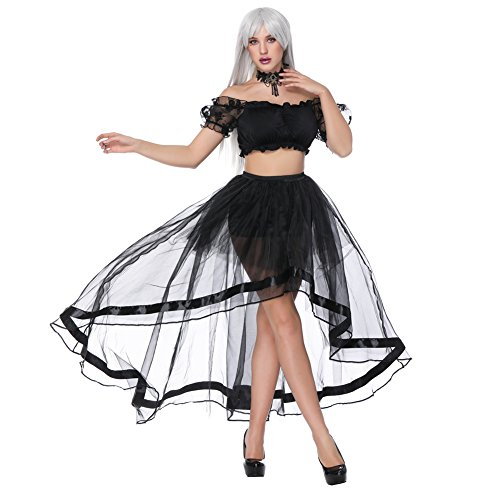 FeelinGirl Damen Korsagekleid Steampunk Gothic Kostüm Magic Mistress Hexenkostüm Teufelchen Halloween Cosplay Priatbraut (Size Kostüme Plus Korsett)