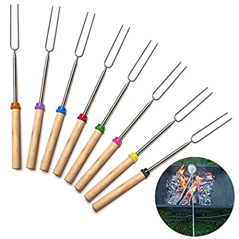 Extending Marshmallow Roasting Sticks- 31 Inch,Set of 8,Telescoping Stainless Steel with Wooden Handle Hot Dog Forks ,Campfire,Patio Fire Pit & Camping Cookware ,Campfire Cooking for Kids and Adults.