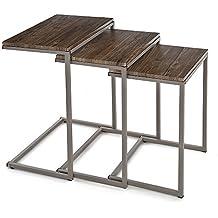iKayaa YT08009 - Conjunto de Mesas Auxiliares 3uds para Salón Dormitorio (Estructura de Metal,Max.20Kg,Estilo Moderno)