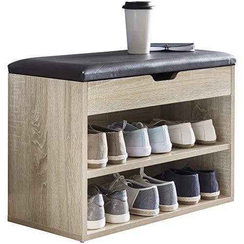 FineBuy Schuhbank Sofie mit Sitzfläche Sonoma Garderoben-Bank Holz 60 x 40 x 30 cm | Holzbank klein gepolstert | Sitzbank schmal Flur mit Stauraum | Truhenbank Schuhtruhe Flurmöbel -