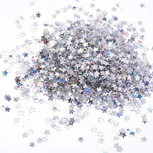 Xhuan 100 Gramme Confetti en Forme d'Étoiles pour Artisanat Bricolage Nail Art et Décoration de Fête, Argent Holographique