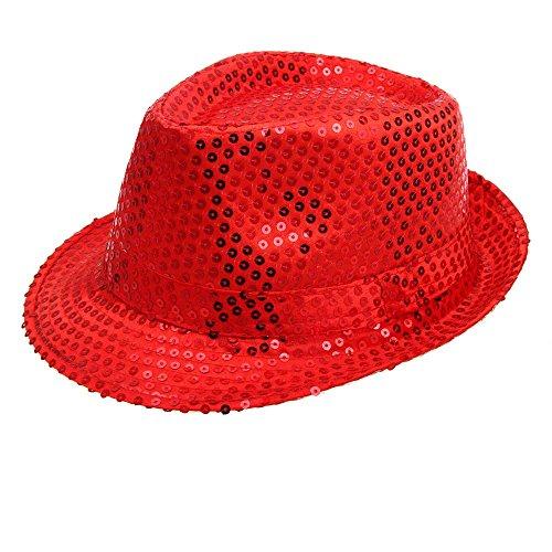 UJUNAOR Unisex Jazz Hut Jazzhutes Pailletten-Kappe Tanz Caps Show Aufführungs Hüte(Rot)