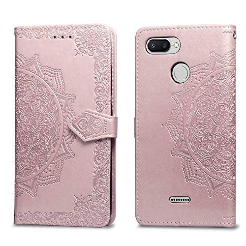 MUSESHOP Funda Xiaomi Redmi 6/6A, Carcasa Libro de Cuero con Tapa y Cartera para Xiaomi Redmi 6/6A, Carcasa PU Leather con TPU Silicona Case Interna Suave, Soporte Plegable - Oro Rosa