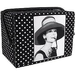 Cesto de costura diseño de Audrey Hepburn negro con lunares grandes - 28,5 x 21 x 19,5 cm