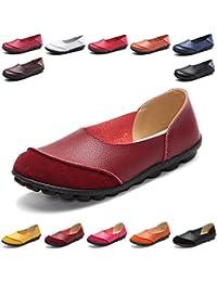 4cbabe05bc1 Hishoes Mocasín de Cuero Mujer Loafers Cómodo y Antideslizante Barco Zapatos  para Mujer Zapatos de Conducción