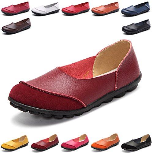 Rot Casual Schuhe (Hishoes Damen Casual Mokassin Leder Loafers Fahren Flache Schuhe 39.5 EU=Etikettengröße 40)