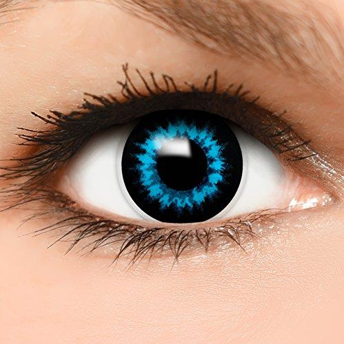 """Farbige Kontaktlinsen """"Eisfee"""" in blau, weich ohne Stärke, 2er Pack inkl. Behälter und 10ml Kombilösung - Top-Markenqualität, angenehm zu tragen und perfekt zu Halloween oder Karneval"""
