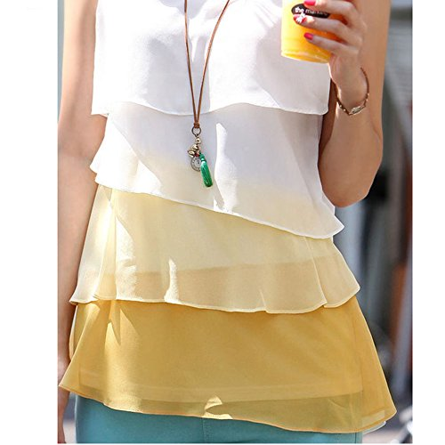 LOBZON Damen Bluse, Einfarbig Gelb