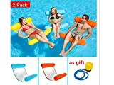 XM 2Pack / Lot Estate PVC Floating Water Hammock Float Lounger Gonfiabile Letto Galleggiante Spiaggia Piscina Lounge Letto Galleggiante Sedia Per Bambini Adulti (blue+red)