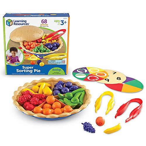 Super Sorting Pie Fruity pie teaches early number skills and attributes (colors and fruit shapes). Place the sorting cards into the bottom of the pan to provide visual cues that support student success. Top crust becomes a bowl to conveniently hold c...