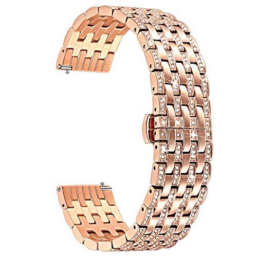 TRUMiRR Armband kompatibel mit Fossil Gen 4 Q Venture HR Armband Metall, 18mm Kristall Rhinestone Diamant Uhrenarmband für Nokia Steel HR 36mm, ASUS Zenwatch 2 Damen 1.45'', Daniel Wellington 36mm -